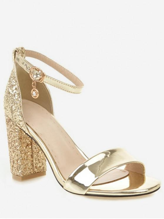 womens Shiny Chunky Heel Sandals - GOLD EU 43
