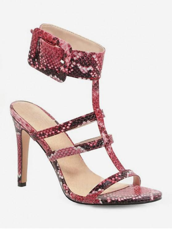 outfit Snake Pattern T Strap Heeled Sandals - RED WINE EU 38