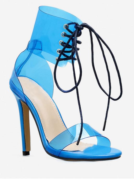 outfit Lace Up Transparent PVC Sandals - BLUE EU 40