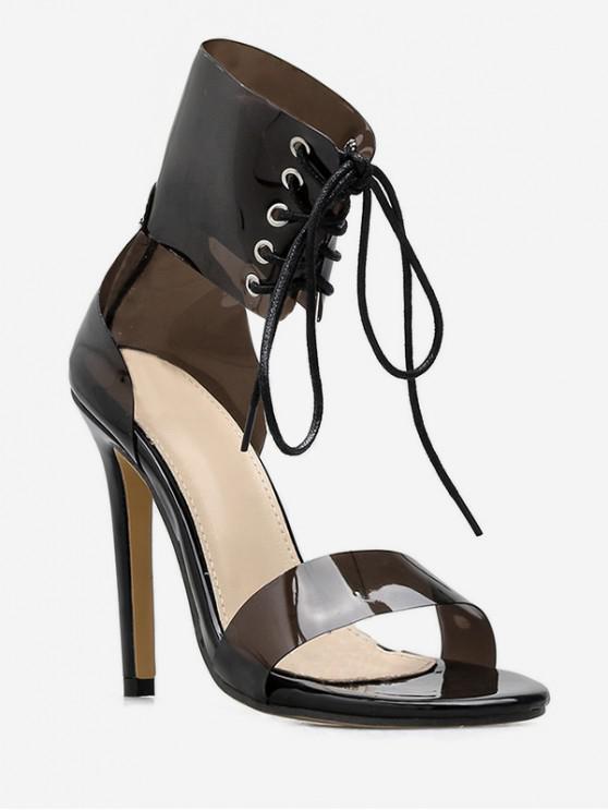 fancy Lace Up Transparent PVC Sandals - BLACK EU 39