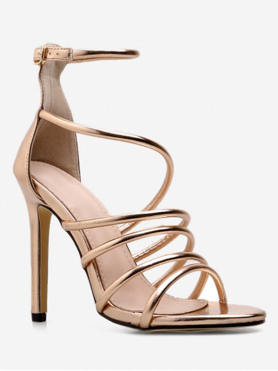 latest Strappy Super High Heel Sandals - GOLD EU 38