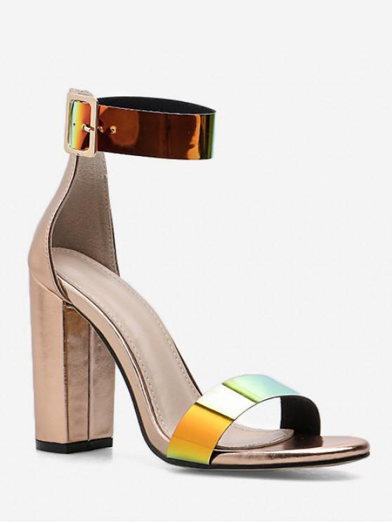 ladies Holographic Strap Chunky Heel Sandals - GOLD EU 40