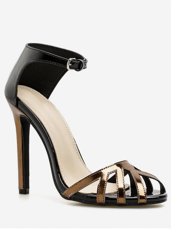 hot Ankle Wrap Design Stiletto Heel Sandals - BLACK EU 38