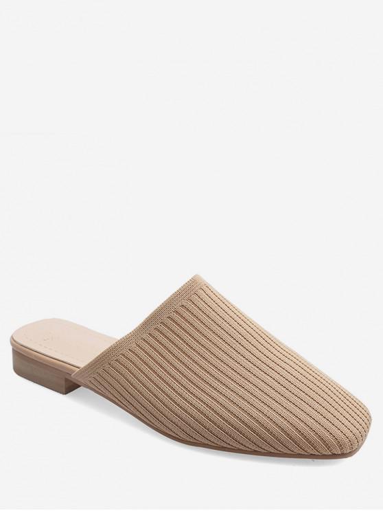 outfits Square Toe Striped Slip On Slides - APRICOT EU 37