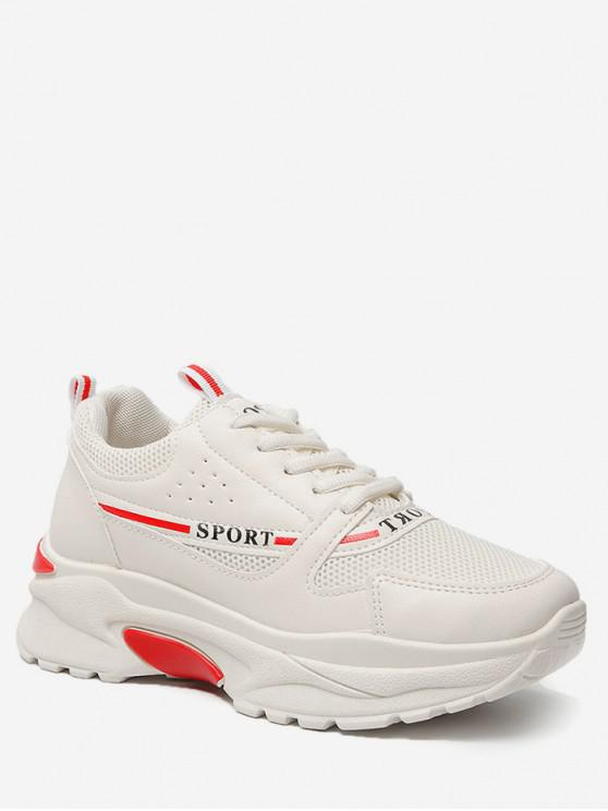 women Mesh Trim Breathable Sport Shoes - BEIGE EU 38