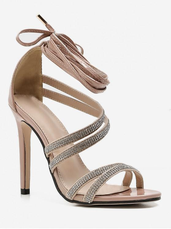 shop Rhinestone Decor Ankle Wrap Sandals - APRICOT EU 40