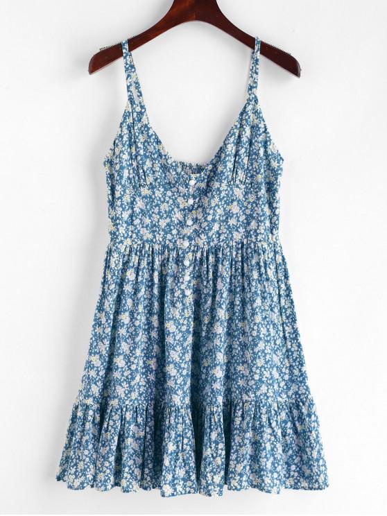 ZAFUL Ruffles Meia Abotoado Vestido Floral - Azul Claro M