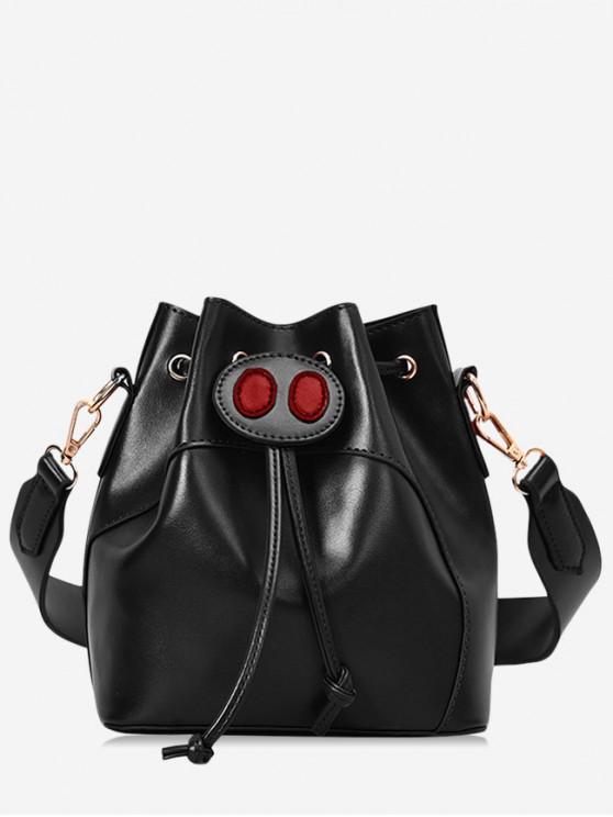 lady Pig Nose Design Bucket String Shoulder Bag - BLACK