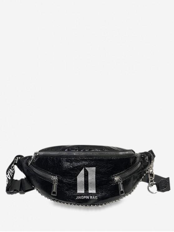 shop Character Pattern Stylish Crossbody Shoulder Bag - BLACK