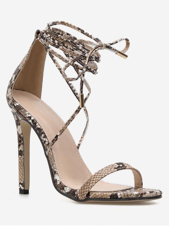 buy Snake Print Ankle Wrap Sandals - SILVER EU 37