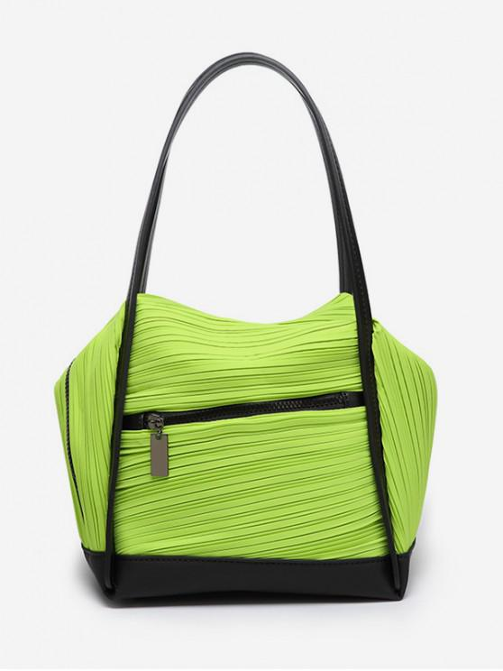 online Plicated Design Big Capacity Handbag - CHARTREUSE