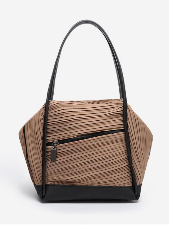 unique Plicated Design Big Capacity Handbag - COFFEE
