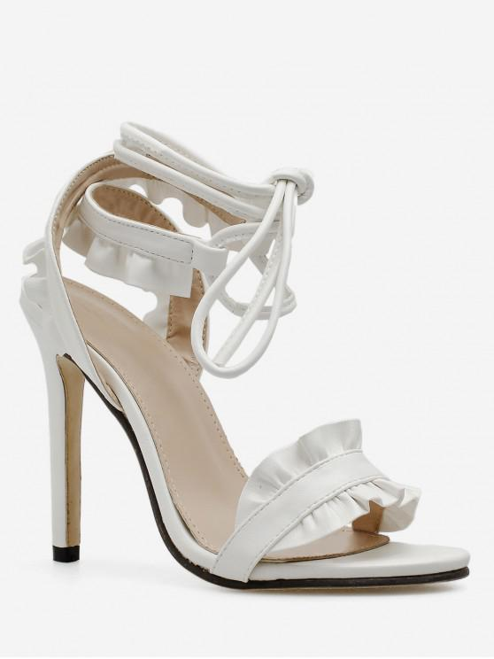 outfits Ruffle Design Lace Up Sandals - WHITE EU 37