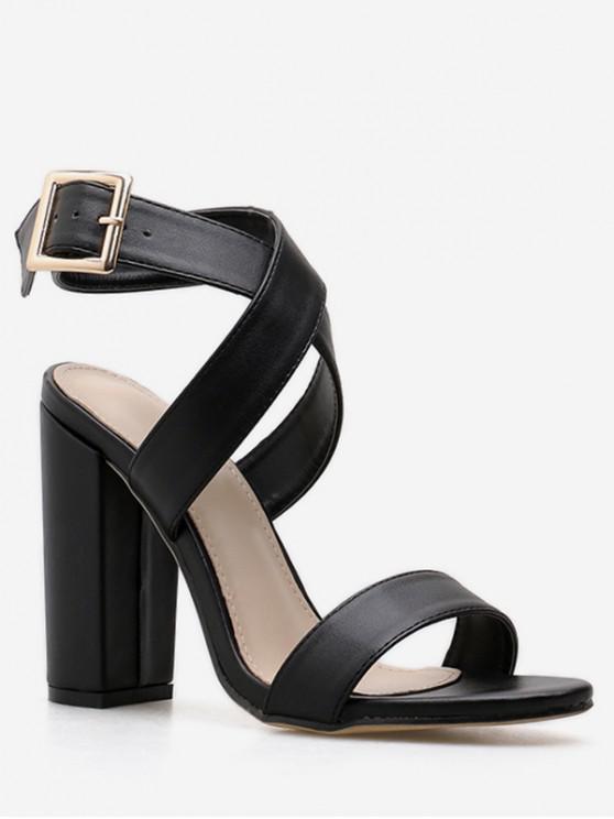 best Solid Crisscross Strap Chunky Heel Sandals - BLACK EU 39