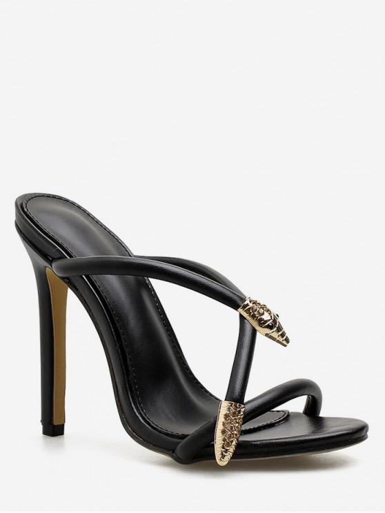 outfits Metal Detail Super High Heel Slides - BLACK EU 39