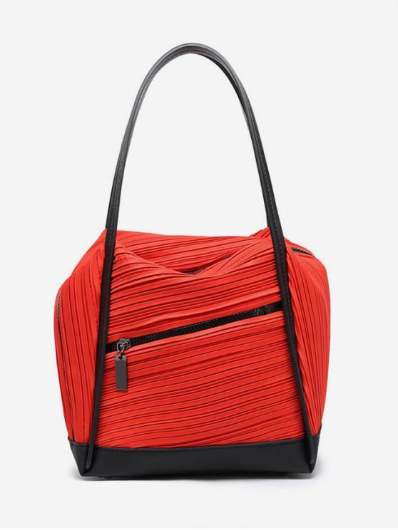 latest Plicated Design Big Capacity Handbag - ROSSO RED