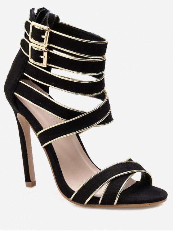 fancy Back Zip Crisscross Strappy Heeled Sandals - BLACK EU 39