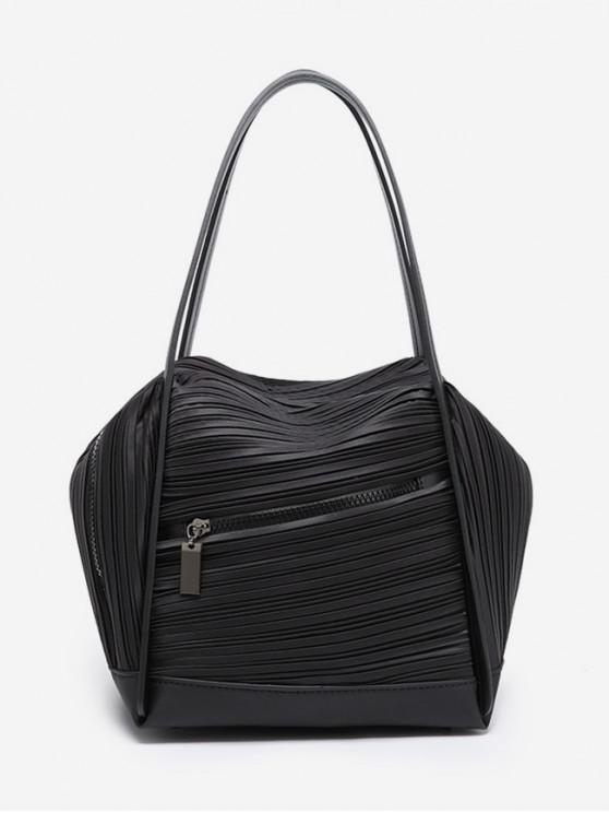 women Plicated Design Big Capacity Handbag - BLACK