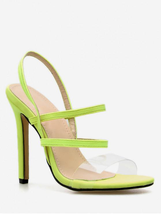 women's Clear Strap Slingback Heeled Sandals - GREEN EU 35