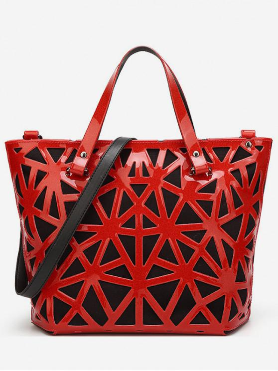 lady Trendy Geometric Pattern Design Tote Bag - ROSSO RED
