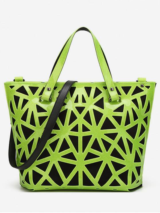 shops Trendy Geometric Pattern Design Tote Bag - GREEN YELLOW