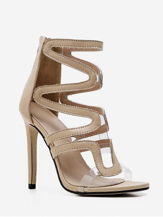 chic Hollow High Heel Caged Sandals - APRICOT EU 39