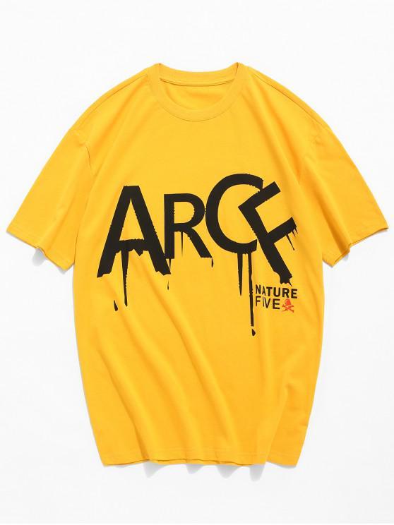 T-shirt a maniche corte con stampa a maniche corte - Giallo d'oro L
