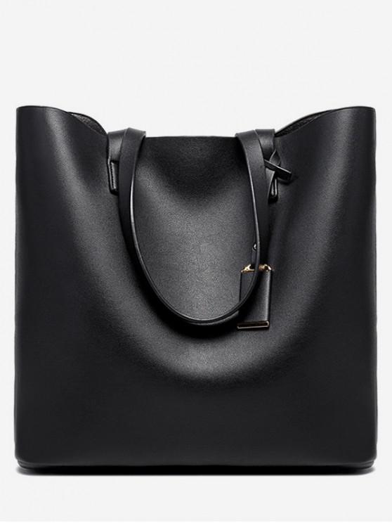 affordable Simple Solid Leather Square Tote - BLACK