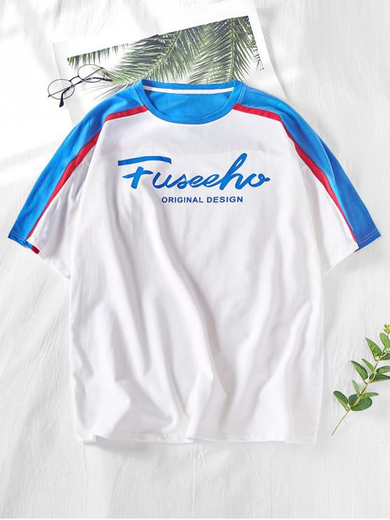 outfits Letters Printed Raglan Sleeves Panel T-shirt - WHITE M