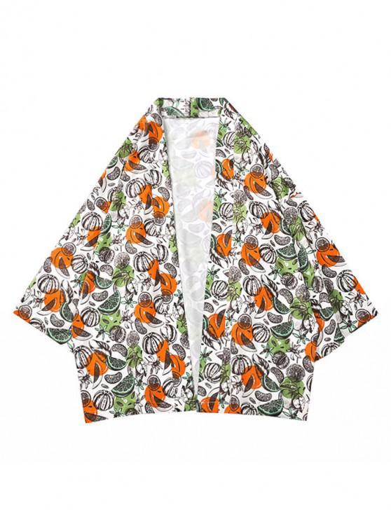 women Fruits and Floral Print Casual Kimono Cardigan - MULTI S