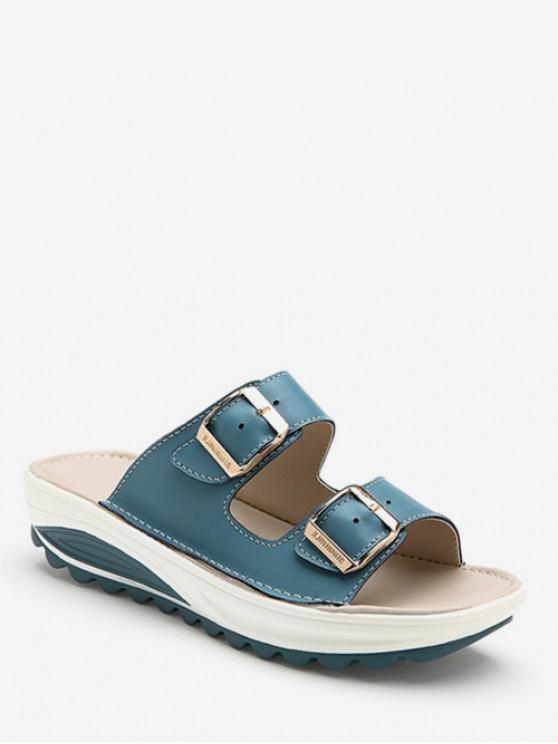 outfits Double Buckle Strap Platform Slides - MARBLE BLUE EU 35