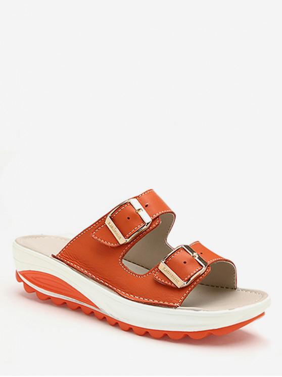 shops Double Buckle Strap Platform Slides - TIGER ORANGE EU 37