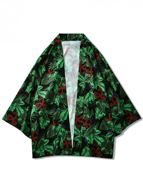 Kimono-Cardigan mit Schlangen- und Blättermuster - Multi M