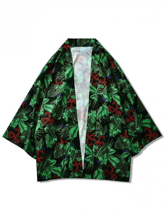 shop Snake and Leaves Allover Print Kimono Cardigan - MULTI 2XL