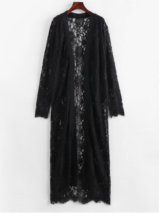 Spitzen-Robe mit Kontrastbesatz - Schwarz M
