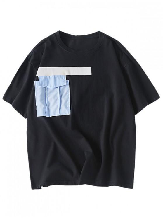 Camiseta de bolsillo con estampado geométrico - Negro XL