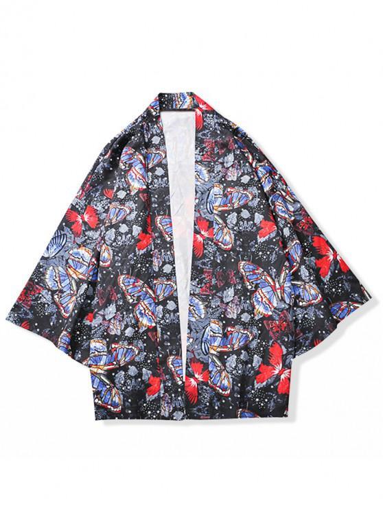 Mariposas por todo el estampado Kimono Cardigan - Negro 2XL