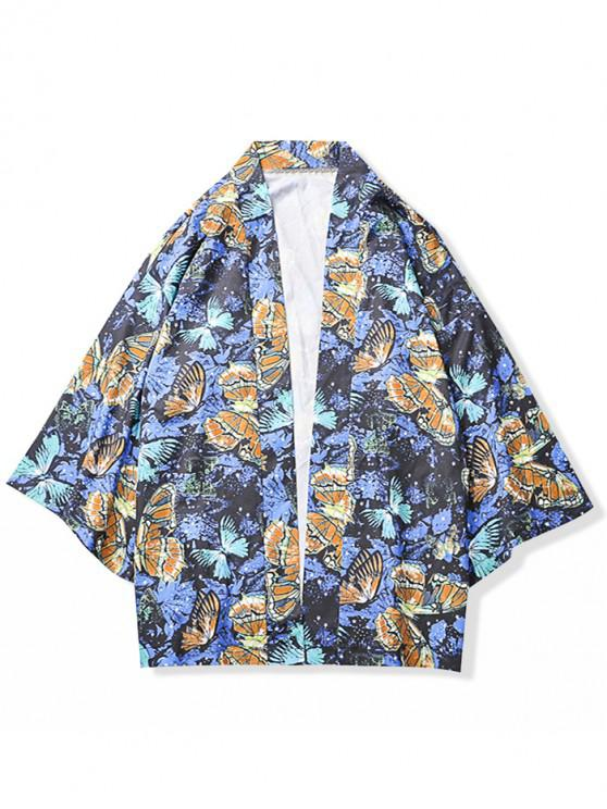 Mariposas por todo el estampado Kimono Cardigan - Azul Marino 2XL