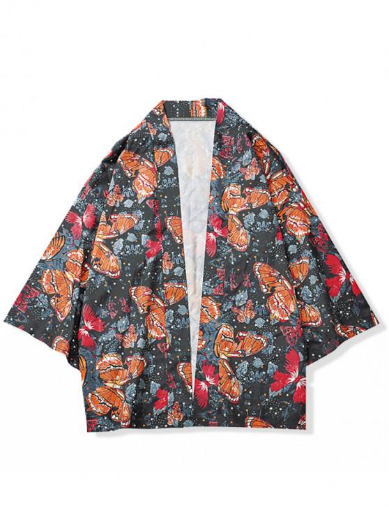 Mariposas por todo el estampado Kimono Cardigan - Naranja Papaya 2XL