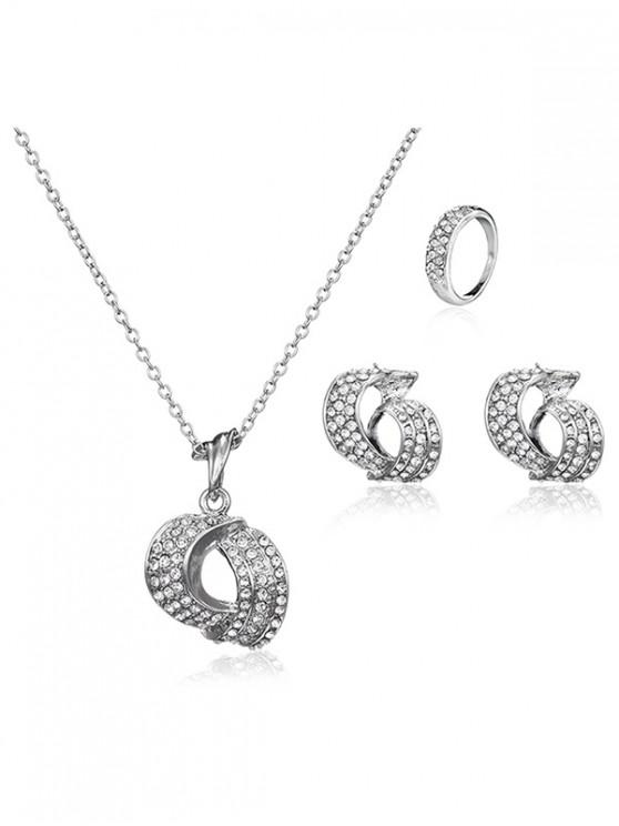 women's 3 Pcs Geometry Rhinestone Jewelry Set - SILVER