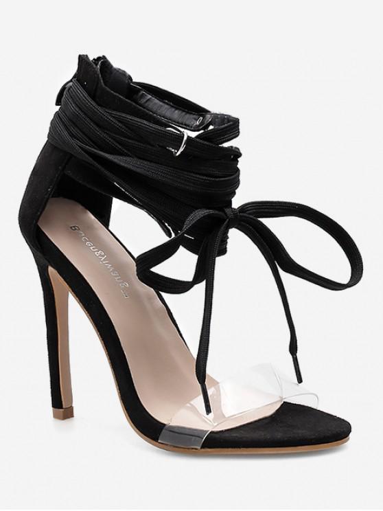 Sandalias de tacón alto de gladiador con cordones - Negro EU 40