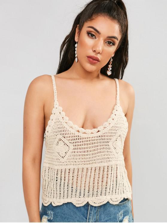 best Scalloped Crochet Tank Top - BEIGE ONE SIZE