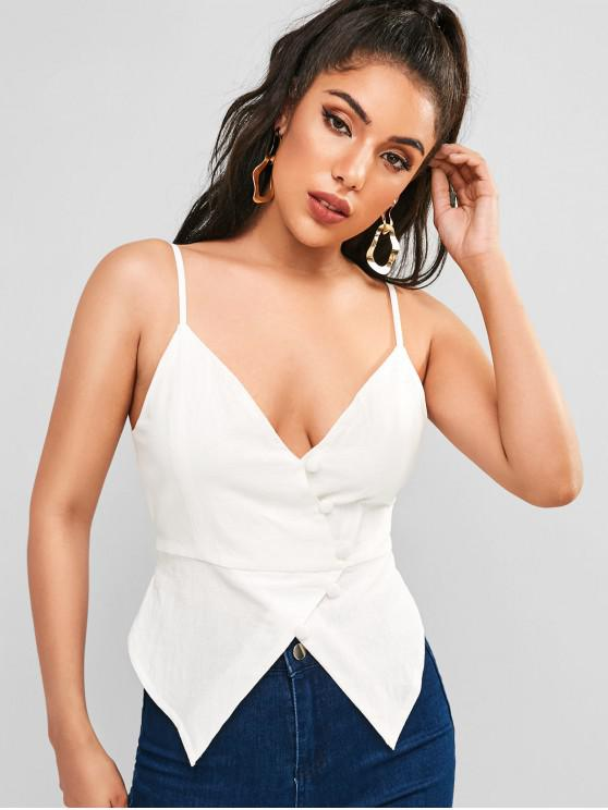 new ZAFUL Pointed Hem Button Up Cami Top - WHITE S