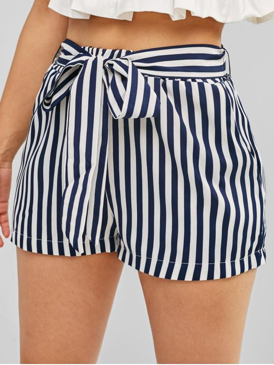 sale Striped High Waisted Belted Shorts - CADETBLUE L