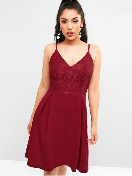women Back Zipper Lace Panel Cami Dress - RED L