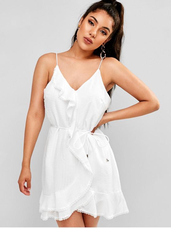 best Crochet Trim Ruffles Belted Cami Dress - WHITE M