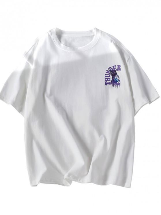 T-shirt décontracté à imprimé graphique Thunder Letters - Blanc 2XL