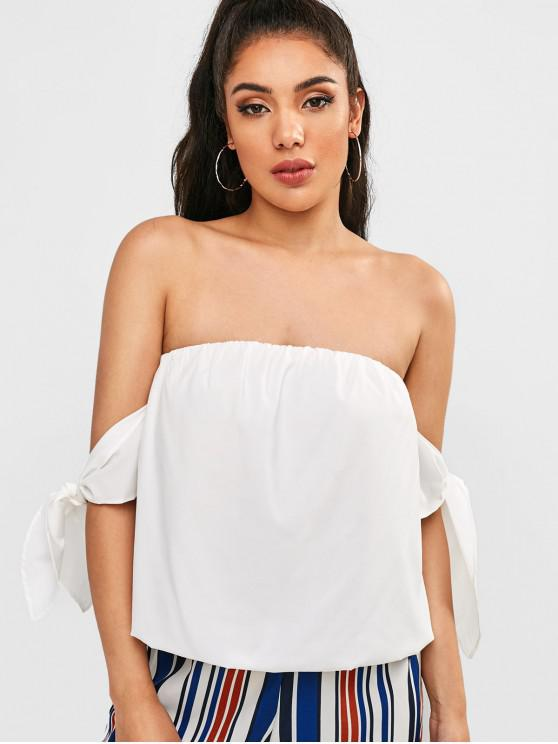 women's Off Shoulder Knotted Blouse - WHITE M