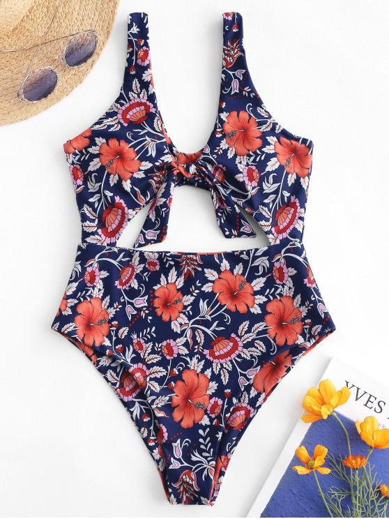new ZAFUL Cut Out Tied Floral Swimsuit - MULTI-A XL