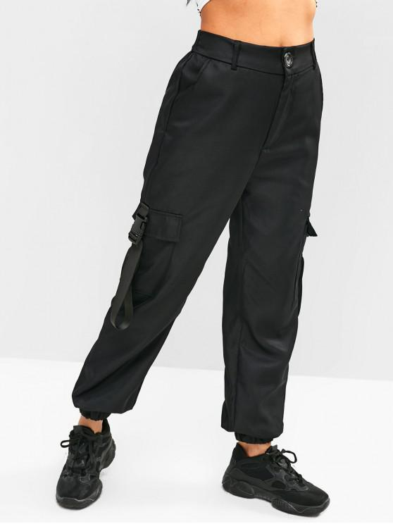 online High Waist Pockets Jogger Pants - BLACK S